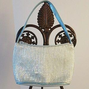 Handbags - CCO - blue iridescent beaded evening bag